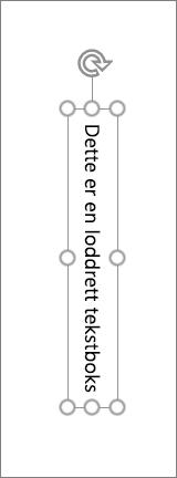 Loddrett tekstboks med loddrett tekst