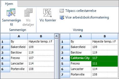 Resultater fra sammenligningen av eksporterte Access-data