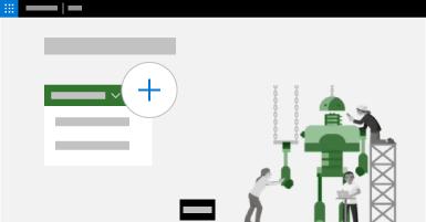 Begrepsmessig bilde av hjemmeside for Project med Opprett-menyen åpen