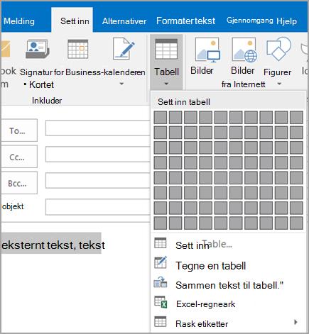 Konvertere tekst til tabell
