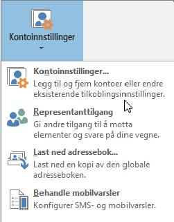 Alternativene som er tilgjengelige når du velger kontoinnstillinger i Outlook