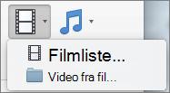 Skjermbildet viser den filmliste og video fra fil-alternativer som er tilgjengelige fra rullegardin Video. Velg et alternativ for å sette inn en film i en PowerPoint-presentasjon.
