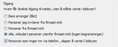 Alternativer for møtetilgang i Lync