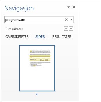 Filtrerte sider som viser søkeresultater