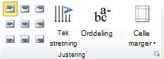 Gruppe for tabelljustering i Publisher 2010
