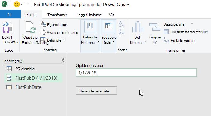 Power Query editor som viser en parameter