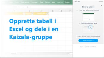 Skjermbilde: Lag tabell i excel og dele på en kaizala-gruppe