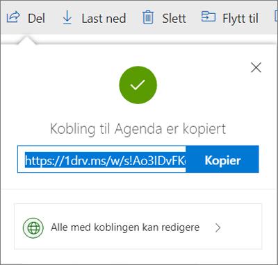 Kopier kobling-bekreftelse når du deler filer via kobling i OneDrive
