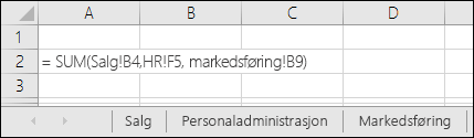 Formelreferanse for flere regneark i Excel