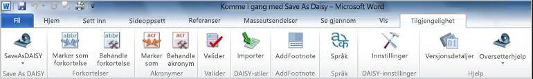 Save as DAISY på Tilgjengelighet-fanen på båndet