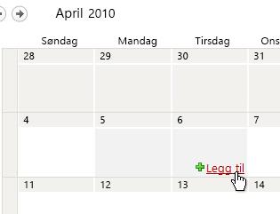 Legg til-kobling i kalenderen