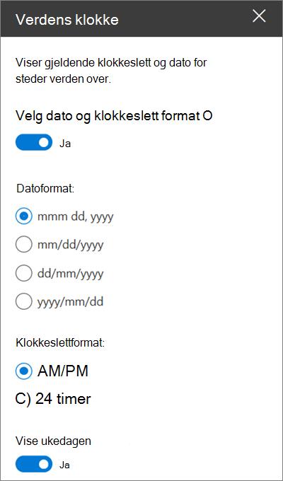 Verktøy kassen for World-webdelen for SharePoint-nettsteder som viser hvordan du tilpasser dato-og klokkeslett formateringen