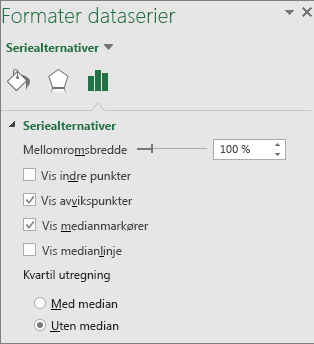 Oppgaveruten Formater dataserie som viser alternativene for Boks- og Whisker-diagram i Office 2016 for Windows