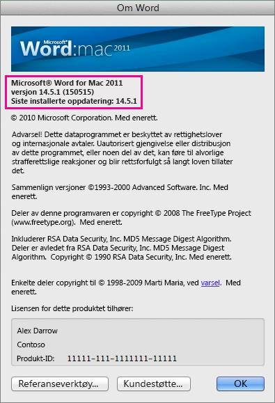 Word for Mac 2011 viser siden Om Word