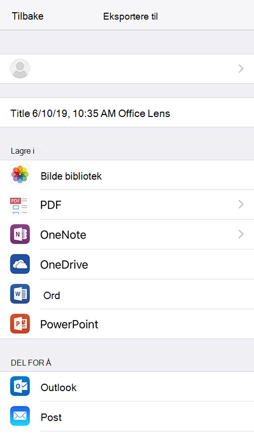 Eksport alternativer i Office Lens for iOS
