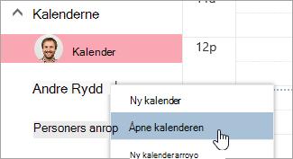 Et skjerm bilde av alternativet åpne kalender