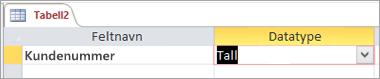 Navnet på første felt og datatype for en ny Access-tabell