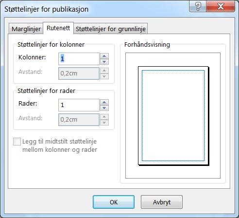 Støttelinjer for publikasjon i Publisher, som viser Rutenett