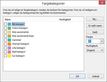 Dialogboksen Fargekategorier