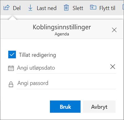 Alternativer for koblingsinnstillinger for deling av fil i OneDrive