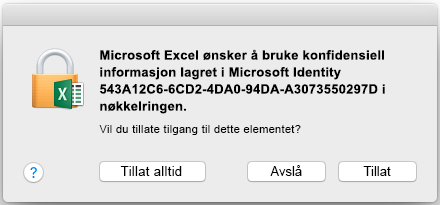 Nøkkelringmeldingen på Office 2016 for Mac