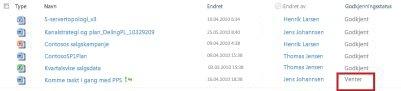 SharePoint-bibliotek med en fil som venter på godkjenning