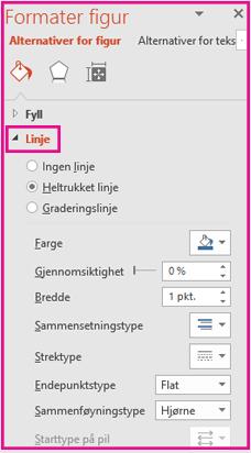 Formatere kantlinjen under linje i formater figur-panelet.