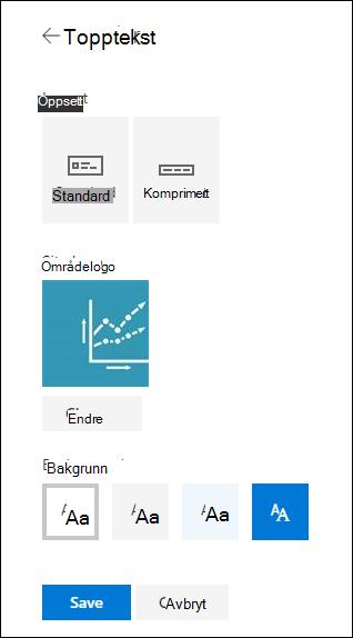 Topp tekst oppsett for SharePoint-område