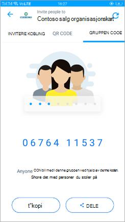 Skjerm bilde av gruppe kodes IDen i Kaizala