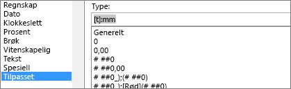 Dialog boksen Formater celler, egen definert kommando, [h]: mm type
