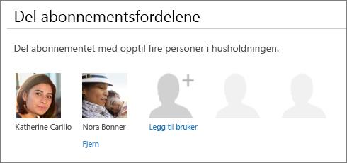 Del abonnementsfordelene-delen av Del Office 365-siden, som viser Fjern-koblingen under en brukers bilde.