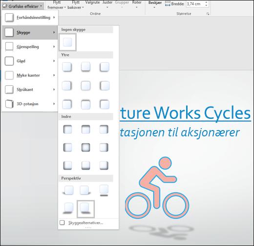 Legge til skyggelegging og andre effekter i SVG-grafikk med verktøyet Grafikkeffekter