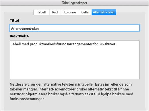 Skjermbilde av Alternativ tekst-fanen i dialogboksen Egenskaper for tabeller