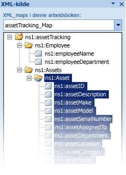 Tilordne InfoPath-skjemafilen til Excel