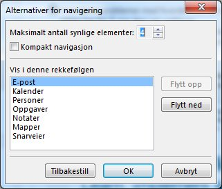 Dialogboksen Alternativer for navigering