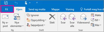 Båndet ser slik ut i Outlook 2016