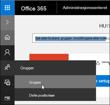 Velg grupper i den venstre navigasjonsruten for å få tilgang til grupper i Office 365-leieren
