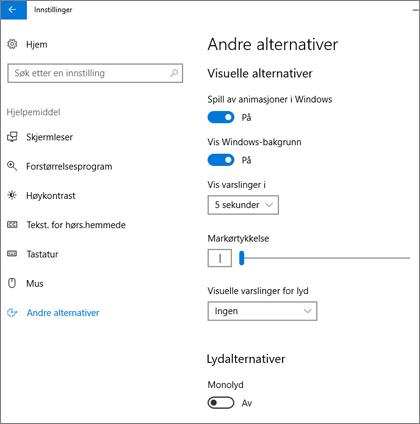 Andre alternativer for Hjelpemiddel-ruten i innstillingene for Windows 10