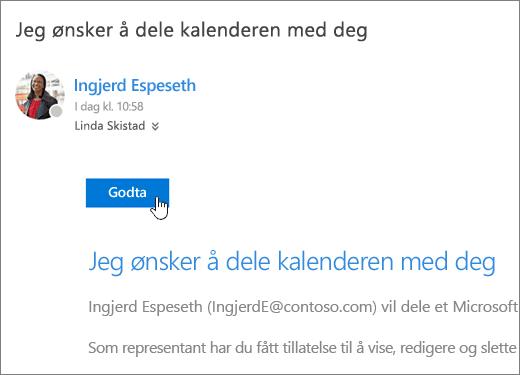 Et skjermbilde av en delt kalenderinvitasjon.