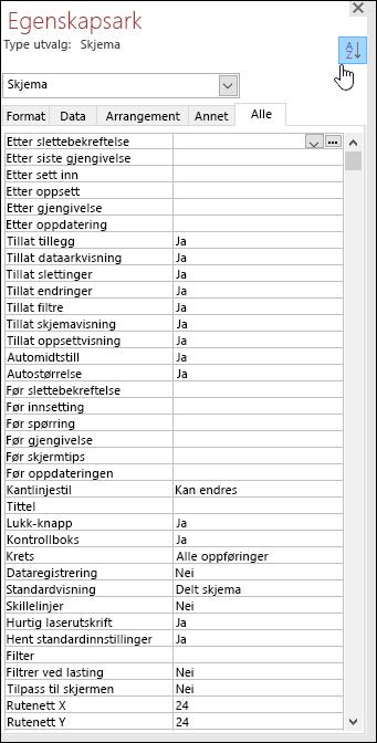 Skjermbilde av Access-egenskapsarket med egenskaper som er sortert i alfabetisk rekkefølge