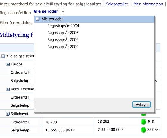 Filter som viser en listekontroll