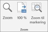 Zoom-gruppen på båndet i Excel