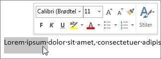 Miniverktøylinjen med merket tekst