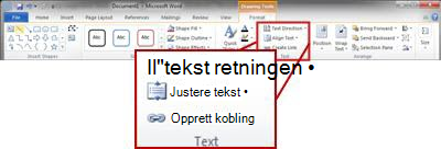 Kategorien Format under Tegneverktøy på Word 2010-båndet.