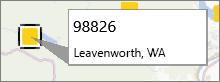 Postnummermerknad på et PowerMap