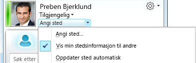 Angi sted for Lync