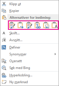 Knappegruppe med fem alternativer for å lime inn Excel-diagrammer i Word
