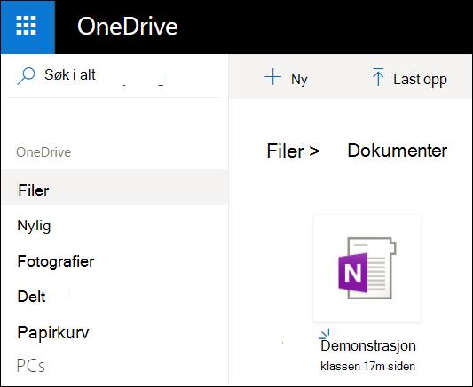 Mappen OneDrive-dokumenter i Microsoft-kontoen