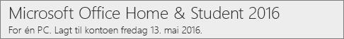 Slik ser PC-versjonen av Office 2016 ut på Office.com/myaccount