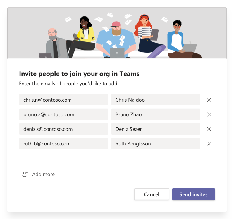 Dialog boksen Inviter personer